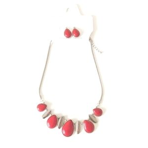 Necklace and Earring Set in Red